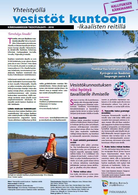 Kuvakaappaus vuoden 2018 tiedotuslehden etusivusta.